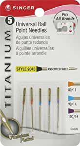 Singer Titanium Universal Ball Point Machine Needles for Knit Fabric, Assorted Sizes, 5-Pack