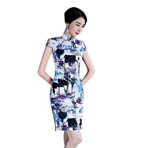 Floral Lino de 11 Impreso Mujer Vestido Retro noche cortas Mangas Hzjundasi Cheongsam Qipao Chicas Tradicional qZwt8naX