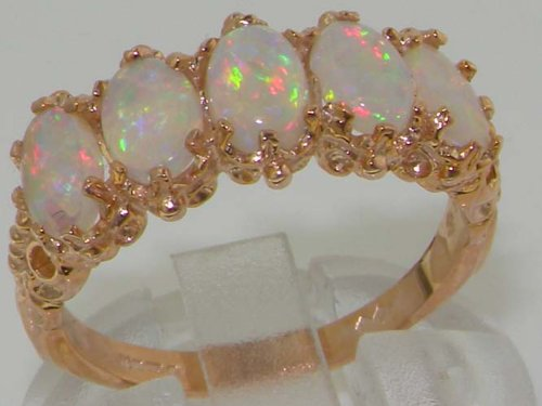 14K Rose Gold Womens Colorful Fiery Opal Vintage Style Eternity Band Ring Sizes 5 to 12 Available