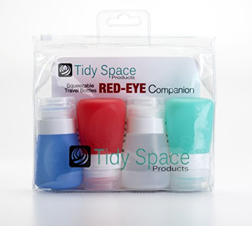 Travel Size Bottles Set of 4 2 oz Leak Proof Refillable Airplane Silicone Containers in a Complimentary Clear TSA Approved Toiletry Bag