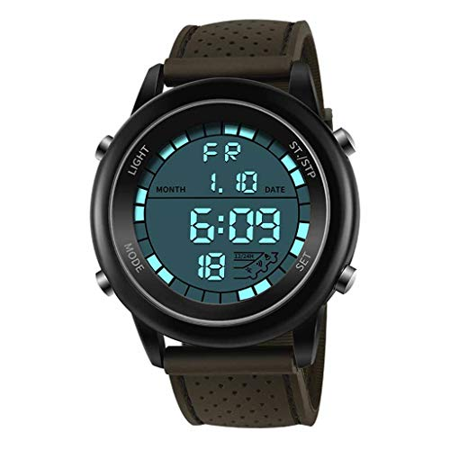 Yezijin Sanda Men Electronic Wrist Watches Waterproof Dual Display Analog Digital LED for Father Men Student Youth Teens Boyfriend Lover's Birthday