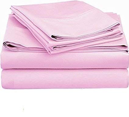 (King of Cotton Bed Sheets Set, 650 Thread Count Egyptian Cotton Sateen Light Pink Solid 4-PCs Twin Extra Long Sheets, Fitted Sheet Fit up to up to 14 Inches Deep Pocket.)