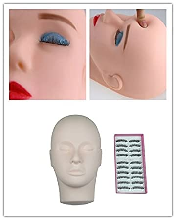 b1e2956667e Amazon.com : Eyelash Extensions Flat Head Mannequin + 10 Pairs of False  Eyelashes : Beauty