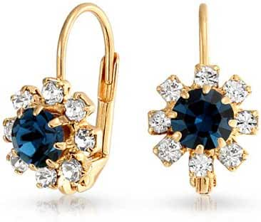 Bling Jewelry Simulated Sapphire Flower Leverback Earrings Gold Filled