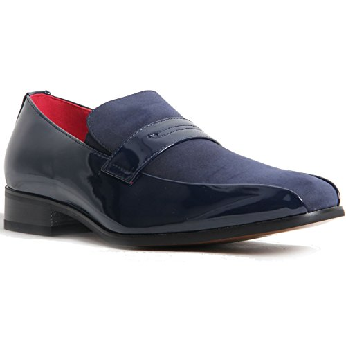 Mens Slip On Leather Lined Smart Loafer Padded Insole Smart Faux Suede Shoes Navy k2ha14
