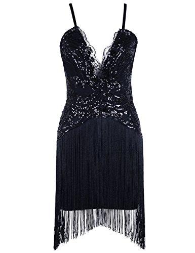 Sequin-Dress,Fit Flattering Fringe Bandage Dress,Glitter Club Dress Tassel-Dress XS by Miss Water