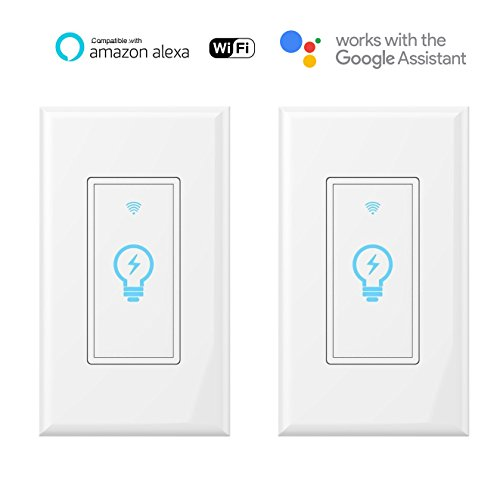 Smart switch, compatible with Amazon Alexa and Google Home IFTTT, built-in wireless WiFi switch in the wall, timing function, suitable for a 1/2/3/4 switch box, neutral wire, requires Micmi (White, 2