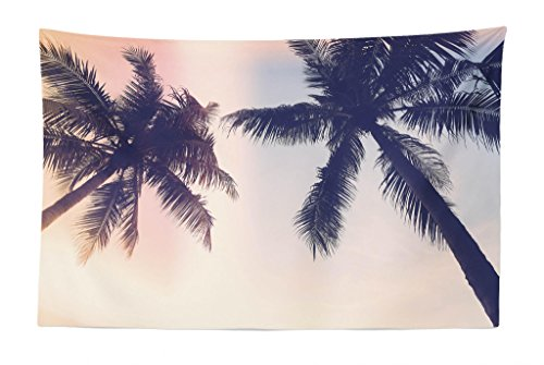 Lunarable Palm Tree Tapestry, Unusual Toned Trees with Sun Flare Californian Inspirations Artwork Print, Fabric Wall Hanging Decor for Bedroom Living Room Dorm, 45