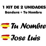 Vinilin Pegatina Vinilo Bandera España + tu Nombre - Bici, Casco, Pala De Padel, Monopatin, Coche, Moto, etc. Kit de Dos Vinilos (Blanco): Amazon.es: Deportes y aire libre