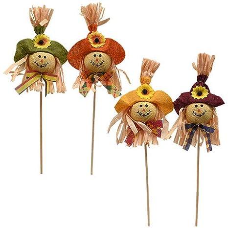 Amazon Com Creative Art 4 Scarecrow Picks Outdoor Halloween