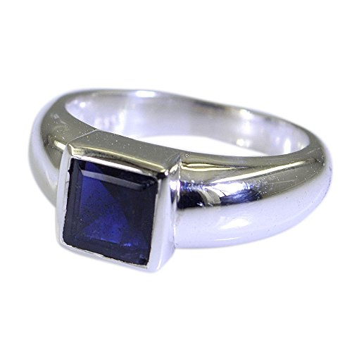 55Carat Natural Gemstone Square Shape Iolite Ring Silver For Women Men In Size US 5,6 ,7,8,9,10,11,12,13