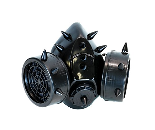 (YDS Accessories Black Short Spikes Respirator Cyber Goth Cosplay)