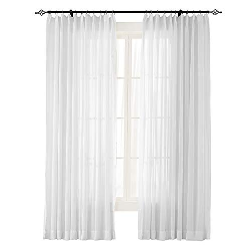 (ChadMade Indoor Outdoor Solid Sheer Curtain Pinch Pleat White 100