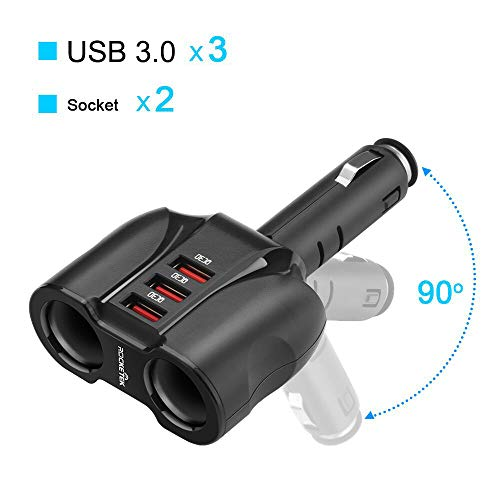 Multiple Cigarette - Rocketek 2-Socket 3-Port QC 3.0 Car Charger Cigarette Lighter Splitter, 90W 12V/24V DC Outlet Multi Socket Car Cigarette Lighter Adapter Support up to Cellphone/Nintendo Switch/Tablet/GPS/DashCam etc