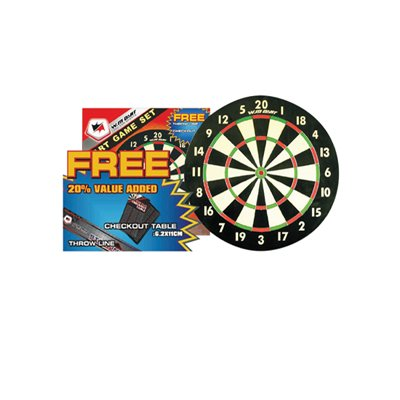 """18 Paper Dartboard with FREE Darts, Throw-Line and Checkout Tables """""""