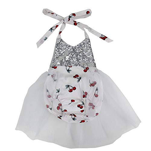 Wennikids Baby Girls Sequins Mermaid Bodysuit Romper Jumpsuit Summer Sunsuit Outfits Medium White Strawberry]()