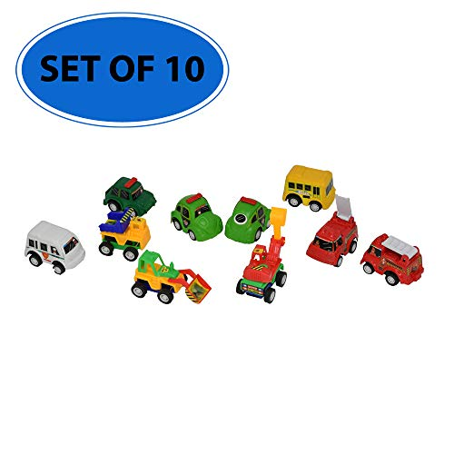 Mini Vehicle Bucket - Home-X Pull Back City Traffic Vehicles |10 Pack Assorted (Mixed Assort Will Vary) Mini Cars and Trucks in Carrying Bucket | Movable Functions