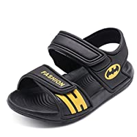 coloing Summer Beach Outdoor Closed-Toe Sandals for Boys and Girls(Black 25/8.5 M US Toddler)