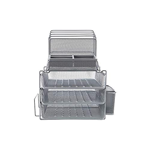 Staples 1483998 All-in-One Silver Wire Mesh Desk Organizer (27642)