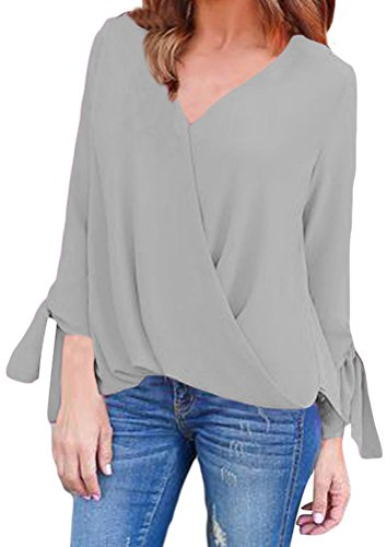 YeeATZ Women Grey V Neck 3/4 Sleeve Loose Ruched Tie Casual Top