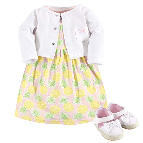 Hudson Baby Girl Baby Cardigan, Dress and Shoes, 3-Piece Set, Pineapple, 9-12 Months (12M)