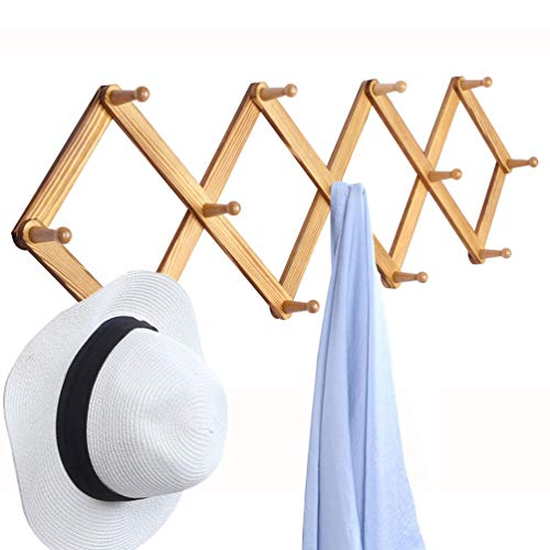 OROPY Wooden Expandable Coat Rack Hanger, Wall Mounted Accordion Pine Wood Hook for Hanging Hats, Caps, Mugs, Coats, Diamond Shap, 38.6