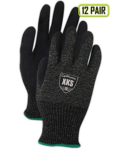 Yarn Cuff - MAGID CutMaster XKS500 Yarn Glove, Nitrile Palm Coating, Knit Wrist Cuff, Size 11 (12 Pair)