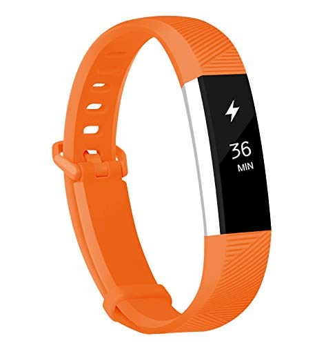Fundro Compatible for Fitbit Alta Bands, Soft Silicone Replacement Classic Bands Available in Varied Colors with Secure Buckle for Fitbit Alta HR (C# 1-Pack Carrot Orange, ()