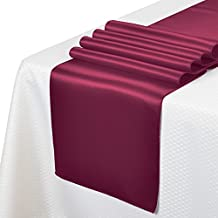 """Remedios 10pcs 12""""x108"""" Satin Table Runner for Wedding Party Venue Decoration,Burgundy"""