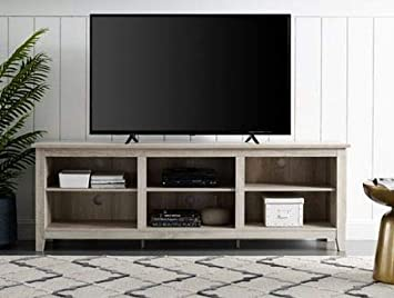 Amazon Com Tv Stand For 70 Inch Tv White Oak Wood With Six Open