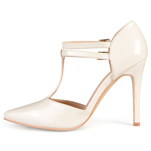 Collezione Journee Womens Classic T-strap Pumps Off White