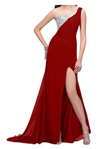 Por la noche de la Toscana de novia de Gasa de noche de la manera de la ranura de largo al tul vestidos de bola con vestidos Prom Rojo