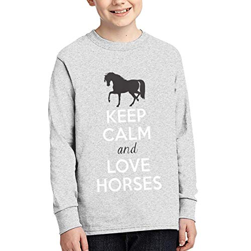 Pautabely Teens Keep Calm and Love Horses Funny Long Sleeve T Shirt for Boys & Girls Gray S