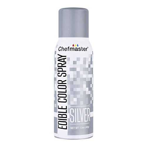 Chefmaster Edible Spray Cake Decorating Color 1.5oz Can - Metallic - Food Silver Dark