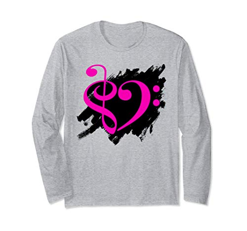 Treble Clef Bass Clef Fuchsia Heart Grunge Brush Strokes Bassist Long Sleeve T-Shirt