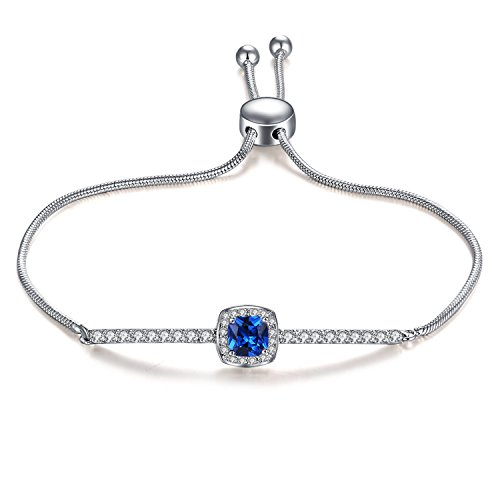 Sapphire Sterling Silver Bangles (Vibrille Adjustable 925 Sterling Silver Cushion-Cut Created Blue Sapphire Bolo Bracelet for Women, 9'')
