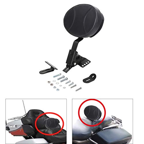 ECOTRIC Adjustable Plug-in Driver Rider Backrest Kit for 1997-2018 Harley Touring FLTR FLHT,with a Removable Back Pocket