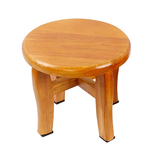 Golden Sun Step Stool Round Solid Oak Wood Handmade Footstool for Kitchen Bedroom Living Room Bathroom 9 inch (A)