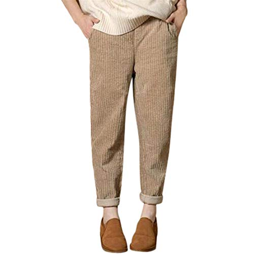 Mikey Store Women Casual Loose Solid Elastic Waist Harem Corduroy Pocket Pants -
