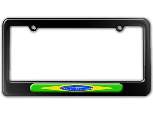 (Brazilian Flag - Brazil License Plate Tag Frame - Color Gloss Black)