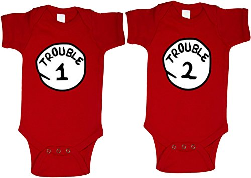 Trouble 1 & Trouble 2 Baby Shirts Twin Set (6-12 -