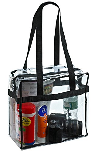 Clear Tote Bag NFL Stadium Approved – Shoulder Straps and Zippered Top. Perfect Clear Bag for Work, School, Sports Games and Concerts. Meets NFL and PGA Tournament Guidelines. (12 x 12 x 6 Inches) – DiZiSports Store