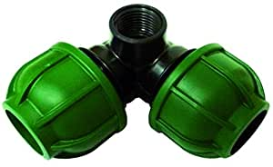 "S&M Racor Codo P.E. 25mm Rosca Esquina 1/2"", Negro y Verde, 7x11.5x5.5 cm"