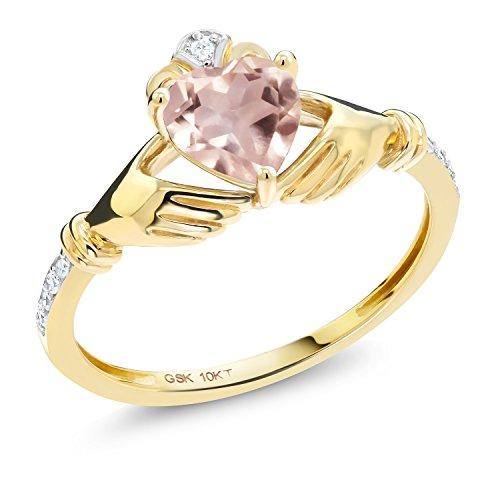 Gem Stone King 0.76 Ct Irish Celtic Claddagh Rose Rose Quartz Diamond Accent 10K Yellow Gold Ring (Size - Ring Quartz 10k