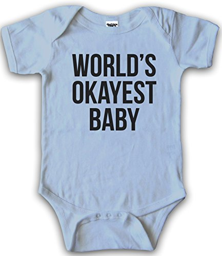 Crazy Dog T-Shirts Infant and Toddler's World's Okayest Baby One Piece Romper - Funny Creeper (blue) 6-12 (Text Infant Creeper)