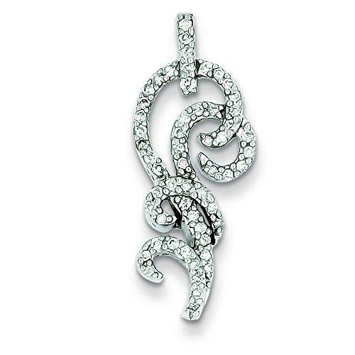 Argent Sterling Rhodium plaqué diamant fantaisie pendentif JewelryWeb