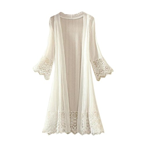 Clearance! Women Fashion Lace Splicing Kimono Cardigan Flare Sleeve Beach Cover Ups Long Blouse Tops (White, XXL)