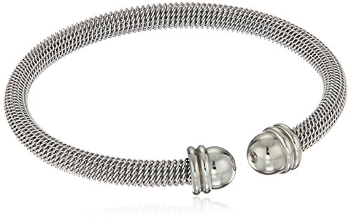 ELYA Jewelry Womens Stainless Steel Domed Mesh Polished Cuff Bracelet, 7-Inch, White