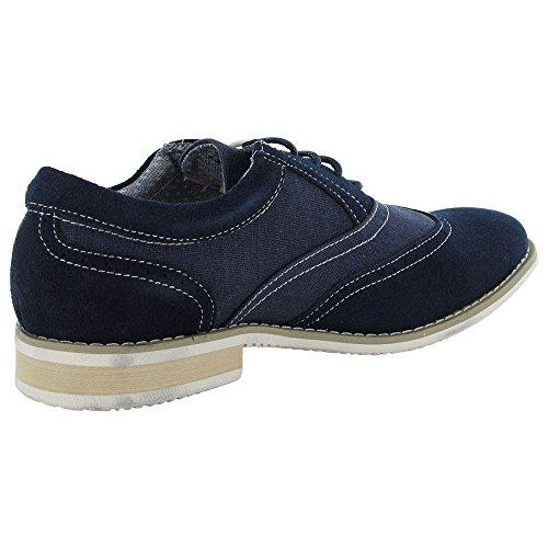Steve Madden Mens P-tagert Plain Wingtip Oxford Shoe Navy Suede
