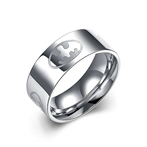 Godyce Batman Ring for Women Men Stainless Steel Silver 8mm Wide Jewelry Size 7 ()